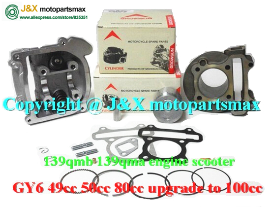 GY6 100CC 50mm CYLINDER 139qmb 139qma engine 4T 50mm cylinder kit incl piston set +rings +gasket JONWAY Roketa Moped(China (Mainland))
