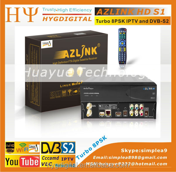 1pc Original AZLINK HD S1 FTA VLC media player and DVB-S2 support wifi and PVR with Turbo LS500 8PSK Turner LINUX IPTV Receiver(China (Mainland))