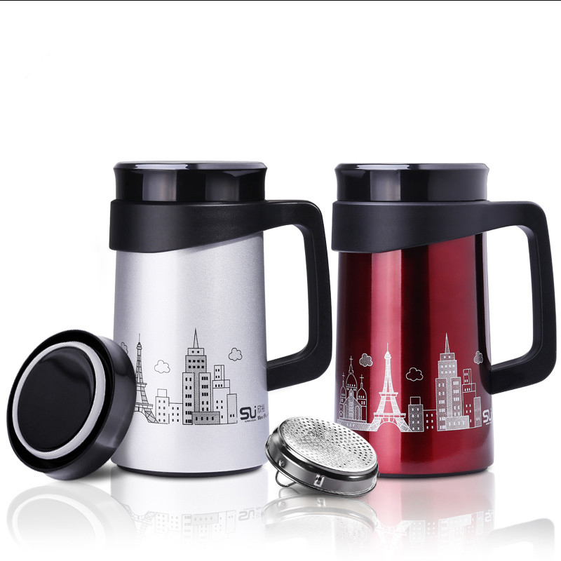 500ml Thermos Cup Stainless Steel Thermos Coffee Mug Drinkware Tea Infuser Cup Vacuum Mug With Strainer & Handle For Office Mugs(China (Mainland))