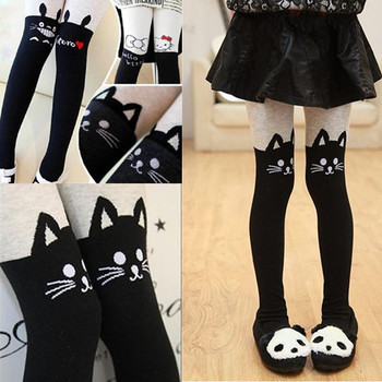 Hot Sales 1 Pair Autumn/Winter girl's splice thick leggings Devil Cat cotton knitted Stitching pantyhose kids girl clothes 1-10T