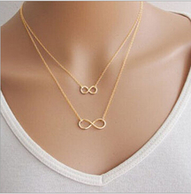 Gros Collier Femme 2015 Multi Layer Necklace Gold Silver Chain Fine Jewelry Bisuteria Mujer Double Infinity Necklaces & Pendants(China (Mainland))