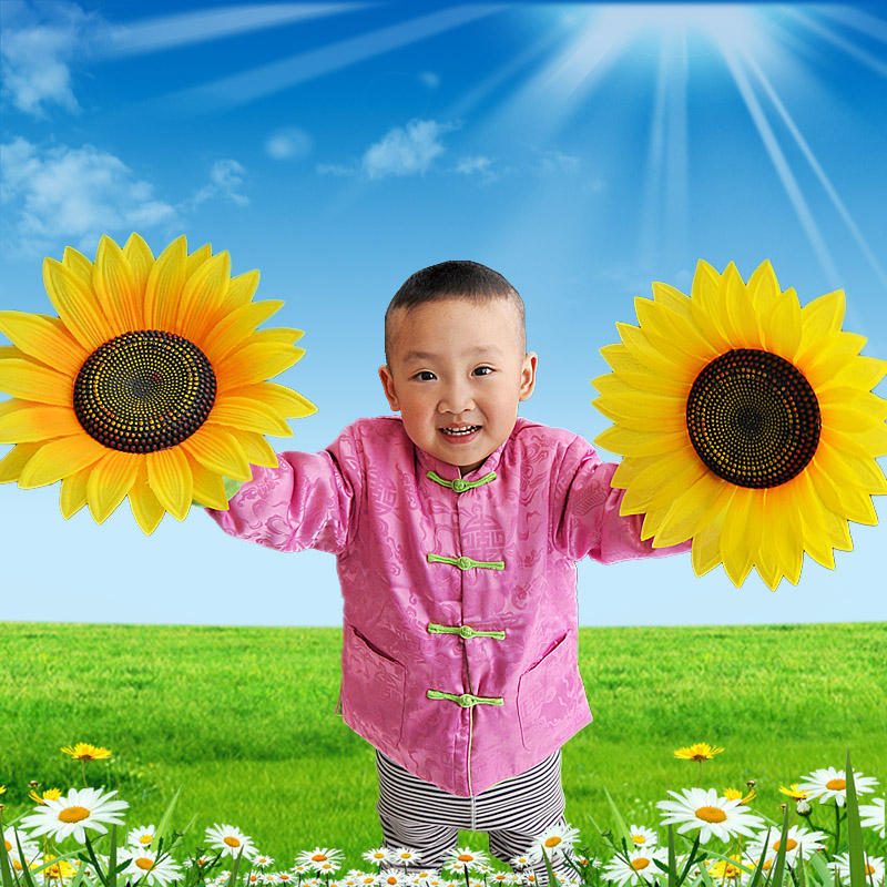 sunflower hand flower six one performance clothes accessories the sun flower show clothes accessories hand flower(China (Mainland))