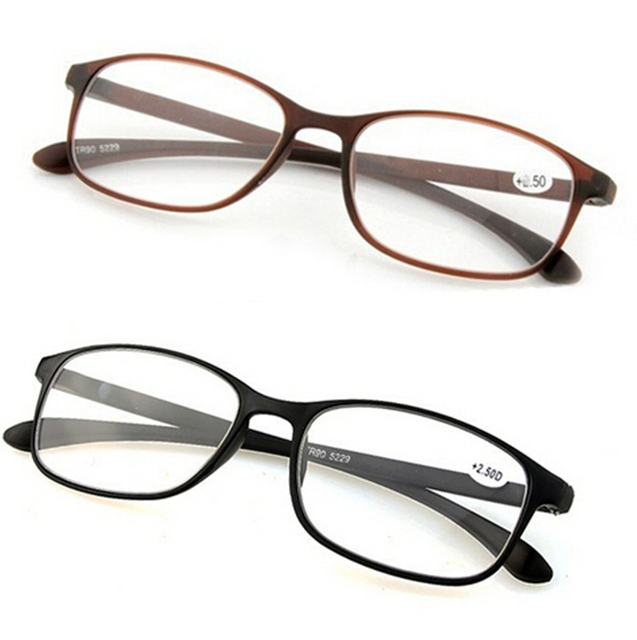 Tr90 очки для чтения супер свет мягкие маленькие полукадр очки чтения коричневый ...