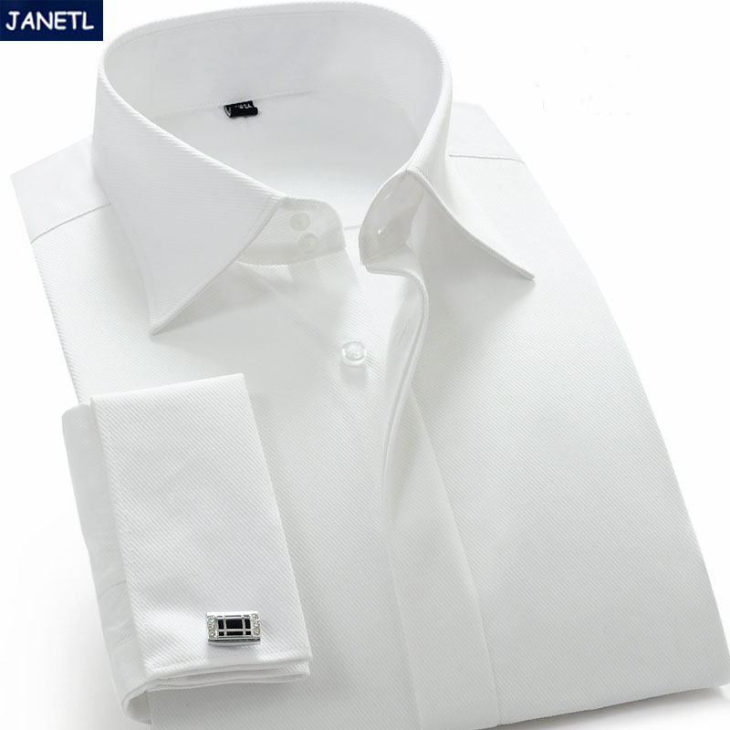 Mens white french cuff dress shirt long sleeve men clothes White french cuff shirt slim fit