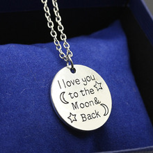 "New HOT Present day mother fashion with letter love between ""the mon back"" women jewelry,letters engraved round necklaces(China (Mainland))"