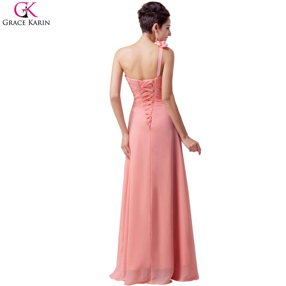 Aliexpress Buy Cheap White Pink PaleTurquoise Grace Karin Long Chiffon One Shoulder Women