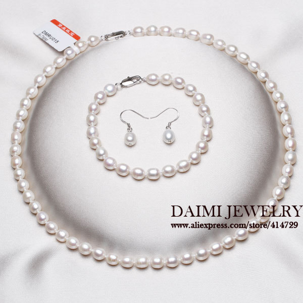 High Quality Pearl Jewelry Sets Pure White Rice necklace 925 Sterling Silver Earrings Pearl Jewelry For Women(China (Mainland))