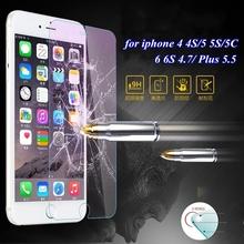 0.3มิลลิเมตรU Ltrathinกระจกป้องกันกรณีที่ชัดเจนสำหรับA Pple iphone 4 4S 5 5S 5C/6 6S /พลัสฟิล์มป้องกันอุปกรณ์เสริมฝาครอบ