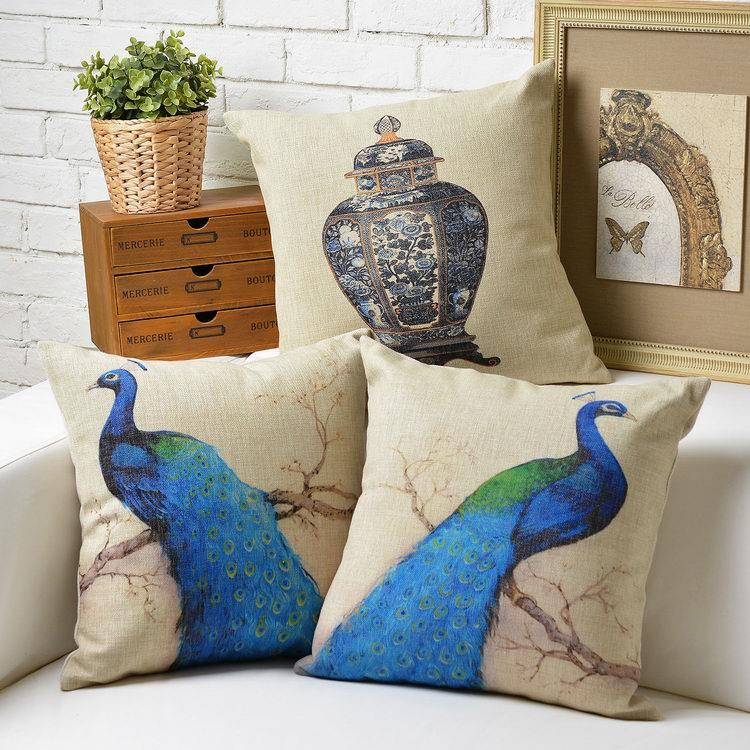 Free Shipping Fresh Blue Peacock Linen Fabric Throw Pillow Hot Sale New Home Fashion Christmas Decor 45cm Bar Sofa Car Cushion