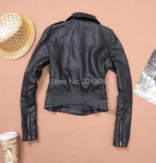 Осень весна дамы одежда короткая кожа куртка женщины свободного покроя пальто мотоцикл куртка кожа одежда женщины