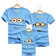 2016 Summer Cotton Minions Mother & Father Children T-shirt New Short-sleeved Family Matching Outfits Parents-child Clothing