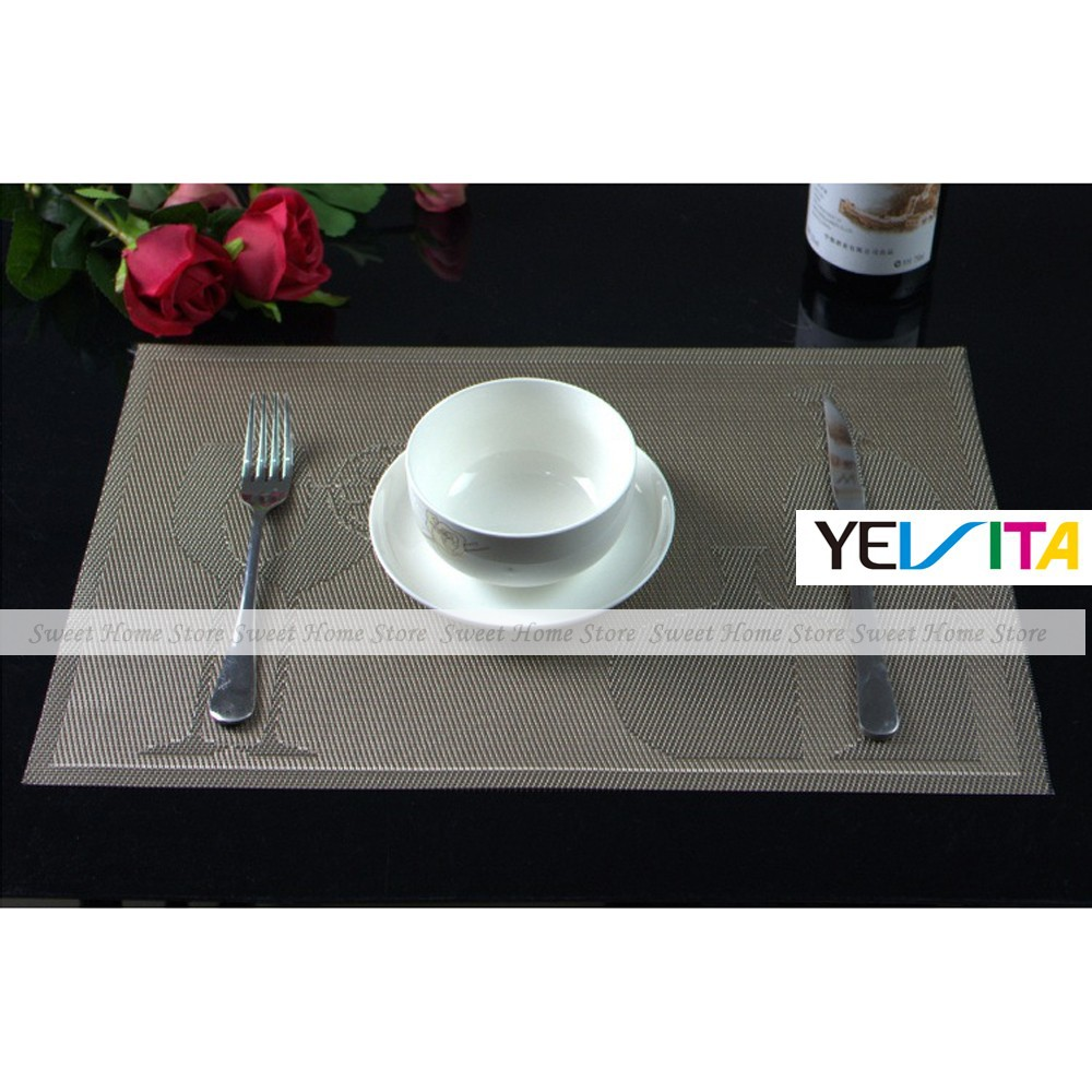 YEVITA Brown Wine Glass Kettle Pattern Kitchen Dinner Placemats PVC Table Place Mat Pad Set of 4(China (Mainland))