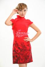 Free Shipping Chinese Women's Winter Wool Mini Qipao Cheong-sam Evening Dress Skirt With Fur Warm S-XXL  YR004