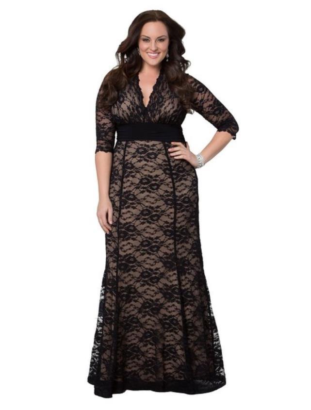 plus size black lace maxi dress - plus size masquerade dresses