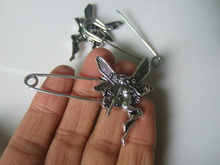 10pcs Silver Tone Large Angel Wings Durable Strong Metal Kilt Scarf Brooch Safety Pin 53mm