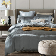 ROMORUS 2016 Luxury Silk Bedding Set 4pcs King Queen Size Quality Modern Silver Gray Wedding Bed Linen Duvet Cover Sheet Sets(China (Mainland))