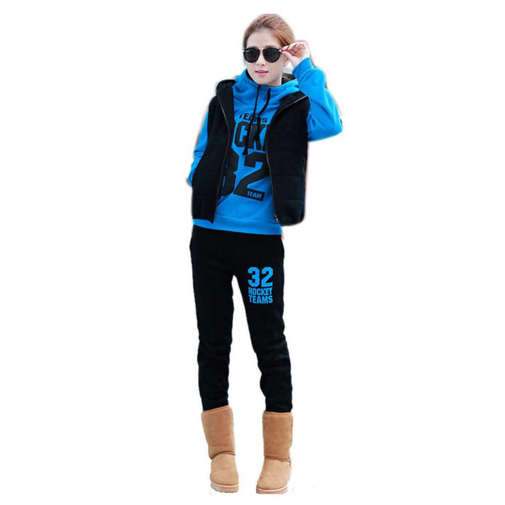 Clearance Sale New 2015 Women Fashion Cotton Hoodies Clothing Set Long Sleeve Blues Tracksuits Sweatshirt Sport Suit 3 Pcs Cheap(China (Mainland))