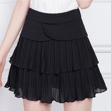 Women's Pleated Summer Skirts 2016 Gauze Ball Gown Skirts New Korean High Waist Black Organza Skirt Plus Size M-4XL Black Color