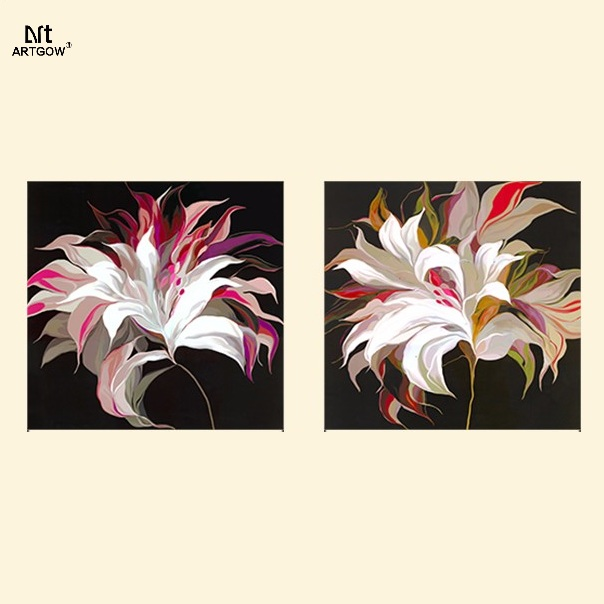 Modern Fashion dark flower for living room Decoration Abstrct Canvas printed Painting on wall Hanging home decor unframed(China (Mainland))