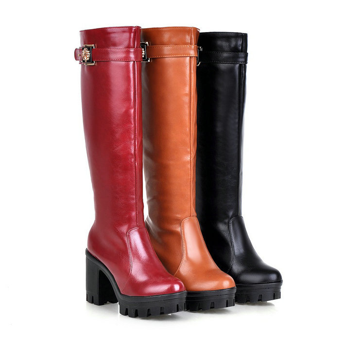 Knee Boots New  Round toe Square Heel High Heel Platform Shoes Woman Knee High Boots Botas Shoes Knight Boots