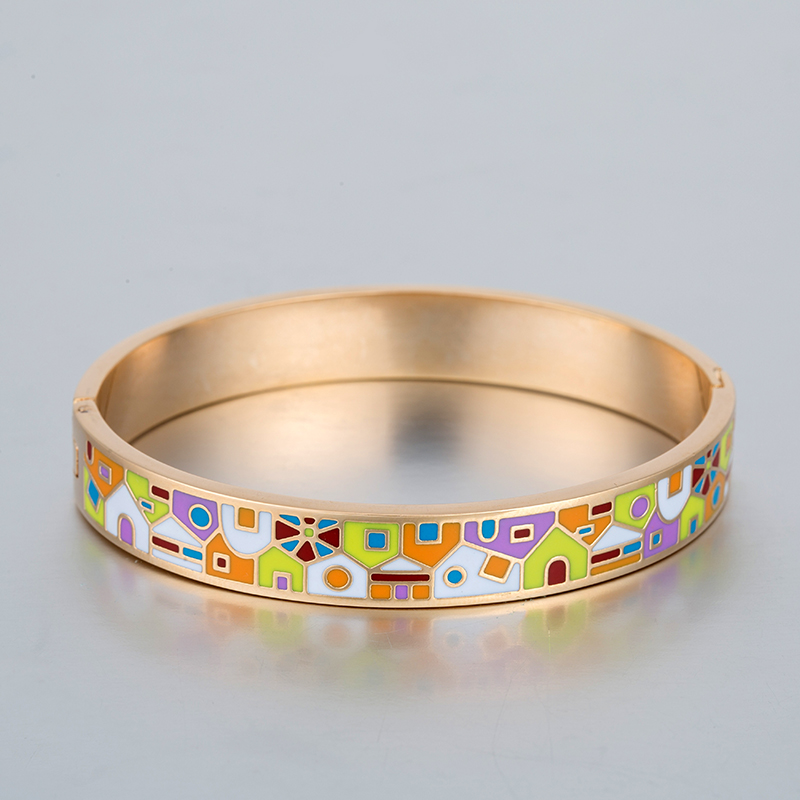 2017 Hot Stainless Steel Ceramic Bangles Colorful Enamel Bangle Gold Plated Width 10mm Jewelry Pulseiras Para as Mulheres(China (Mainland))