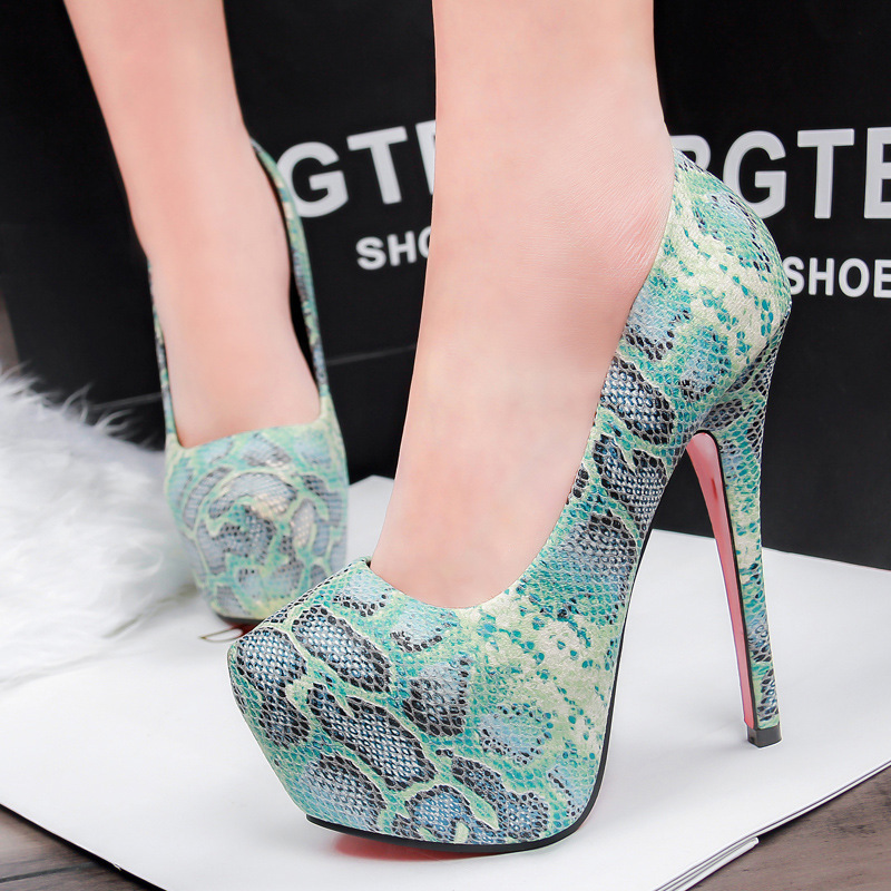 2016 Sale Europe And Sexy Nightclub Heels Serpentine High With Fine With Waterproof Shoes Leopard Mixed Colors Was Thin Women<br><br>Aliexpress
