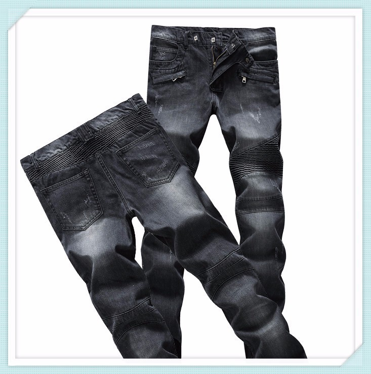 2014 Male Elastic Straight Trousers Promotion 100 Cotton Casual Denim Jeans Men Mid Waist Balm Pants