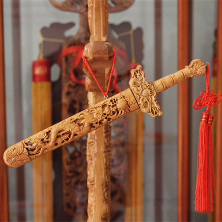 The lucky sword, the peach wood sword, wood crafts, home -guarding and fengshui, for security and peace home decoration(China (Mainland))
