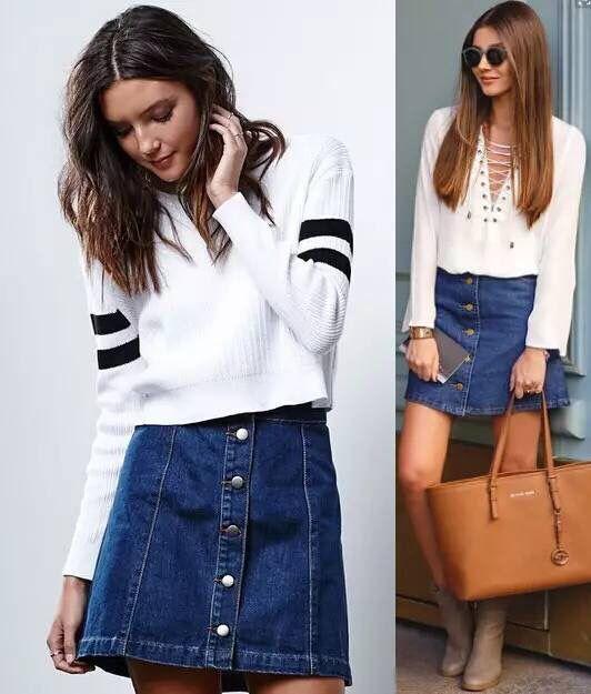 Skirt jeans short high waist mini skirt vintage sexy fashion front row