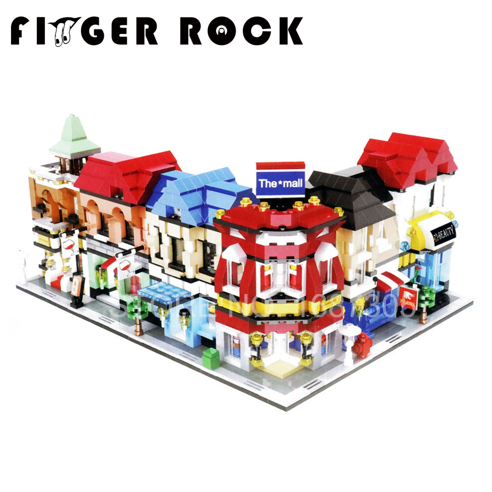 Finger Rock City Series Mini Street Model Store Shop With Minifigure Apple Store McDonald`s Building Block Toys(China (Mainland))
