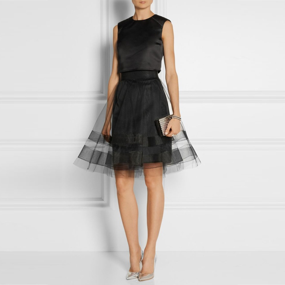 black transparent skirts with lining knee length sheer