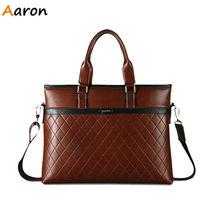 Аарон — горячая распродажа! Новый кожаный мужчины сумка портфель сумка мужчины сумка для ноутбука сумка Bandolera хомбре бесплатная доставка