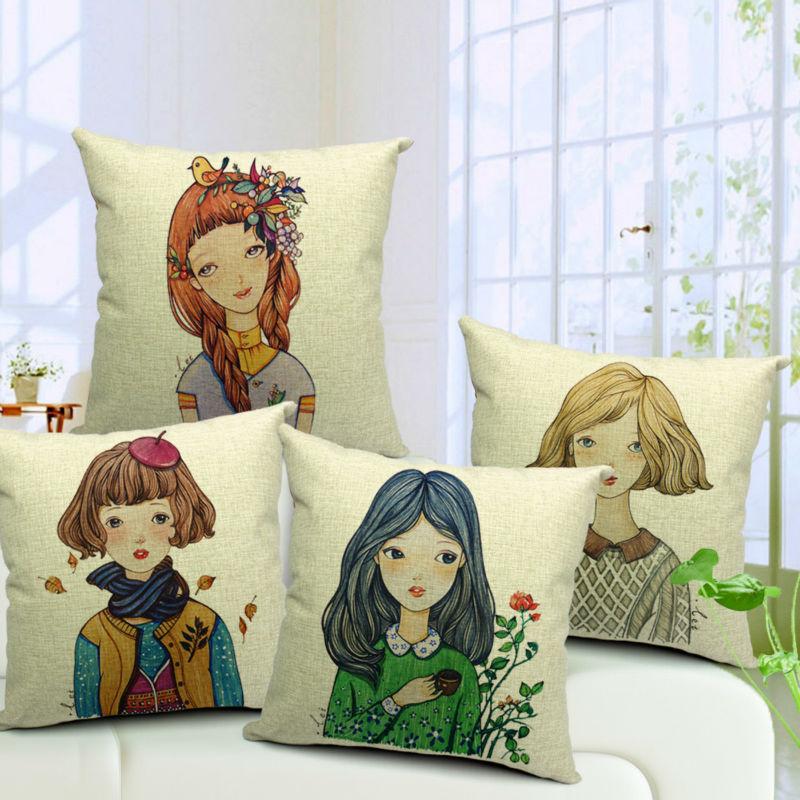 Girl Seasons Modern Style Korean Linen Cotton Fabric Sofa Car Girls Chair Bedding Home Decor Pillow Cushion Covers 18''(China (Mainland))