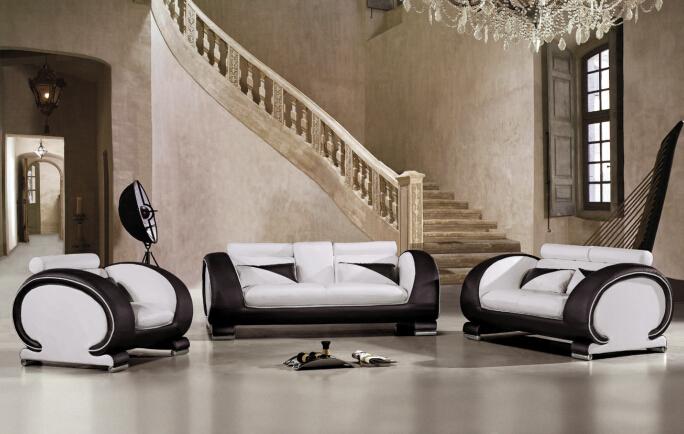 sofa set living room furniture with genuine leather sofa set(China (Mainland))