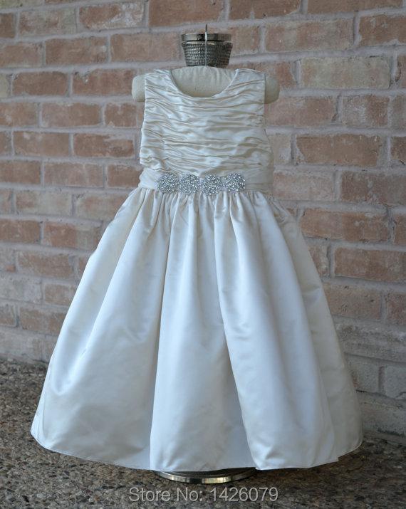 Ivory Christening Flower Girl Dress Baptism Baby Dress, Birthday Dedication Easter