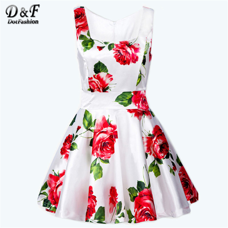 2015 Summer Fashion Women Hot Sale Casual Slim Vest Cute Flowers Printed White Sleeveless Bandeau Floral Tank Cute Dress(China (Mainland))