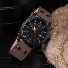 Splendid   Vintage Classic Men's Waterproof Date Leather Strap Sport curren watch price Sinobi Quartz Army Watch
