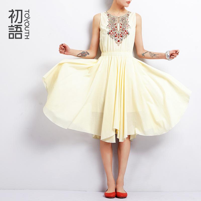 To Youth 2015 Summer Elegant Embroidery Casual Dress Fashion Cotton Tank Dress Sleeveless Slim Waist Pleated Dresses