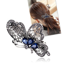 Fashion blue butterfly hair clip for women luxurious girls hair accessories trendy animal hairs accessoires jewelry china