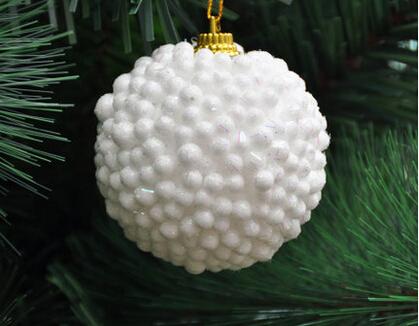 christmas decoration natal navidad craft supplies tree ornaments 6CM white premium foam Christmas ball ornaments (6 Pack) 35g(China (Mainland))