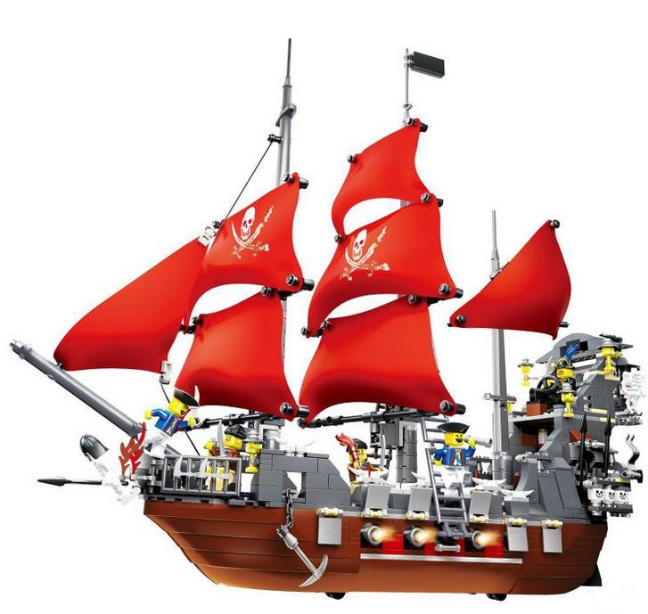 Factory sales Pirates of the Caribbean Queen Anne's Revenge large ship Building Blocks Christmas toys Gift Compatible With Lego