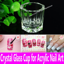 1 piece Acrylic Liquid Glass Acrylic Powder Dappen Dish Crystal Glass Cup for Acrylic Nail Art Clear White Color Transparent Kit(China (Mainland))