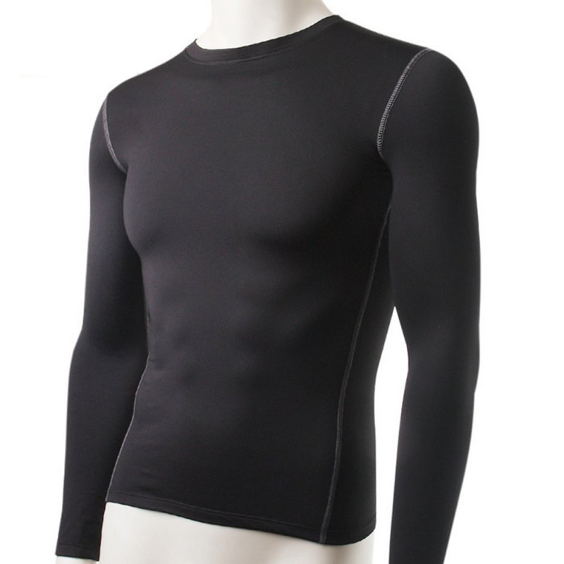 Casual Men Plush Base Layer Long Sleeve Thermal Underwear Winter Undershirt T Shirt Tops