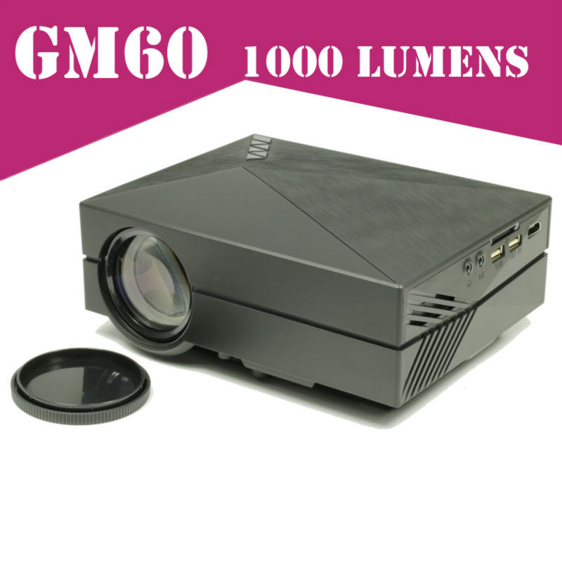 2015 Newest Mini Projector 1000Lumens LED Proyector GM60 Projetor For Video Games TV Home Theatre Movie Support HDMI VGA AV SD(China (Mainland))
