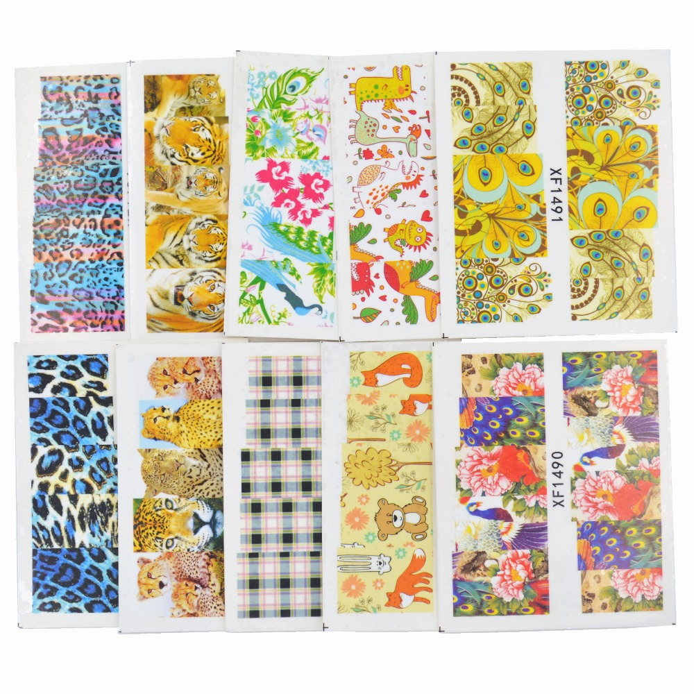 YZWLE 50 Sheets Mixed Styles DIY Decals Nails Art Water Transfer Printing Stickers For Manicure Salon(China (Mainland))