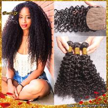 Deep Curly Silk Base Closure With Bundles Brazilian Bundles With Silk Base Closure Brazilian Virgin Hair With Silk Base Closure(China (Mainland))