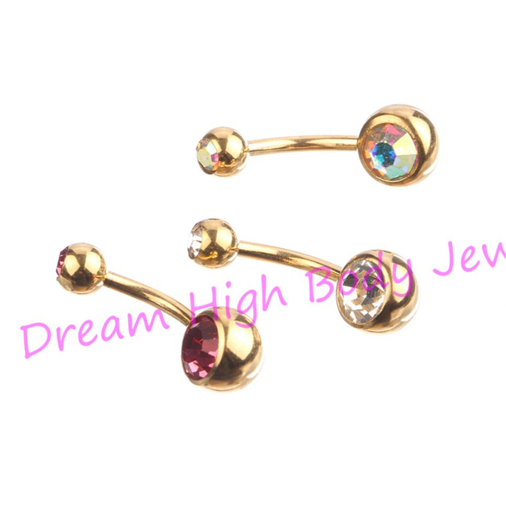 Gold Belly Rings bar Anodized Double Gem Button Navel Body Piercing Jewelry Clear AB Pink 14G 316L Stainless Steel DH1118 - Dream High store