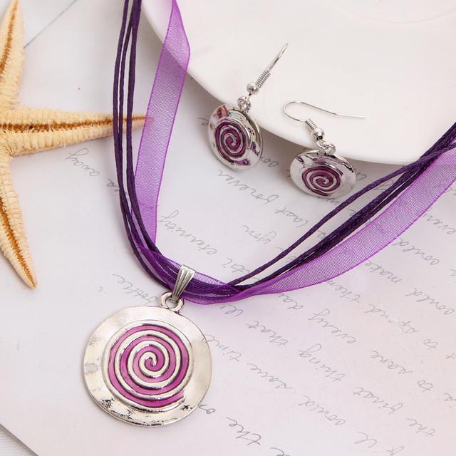 Мода комплект ювелирных изделий фиолетовый веревка Chian круглый подвески и ожерелья ...