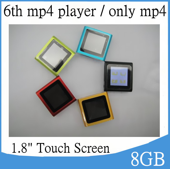"""1.8"""" 6th Mp4 Player 8GB Clip mp3 player Touch Screen Shakable Songs FM Video Games E-book , Free shipping 250pcs (only mp4 )(China (Mainland))"""