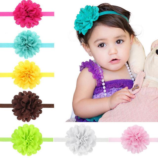 Mesh Flower Baby Girls Elastic Headband Kids Head Accessories Hairband Princess Hair Band 10pcs HYS04